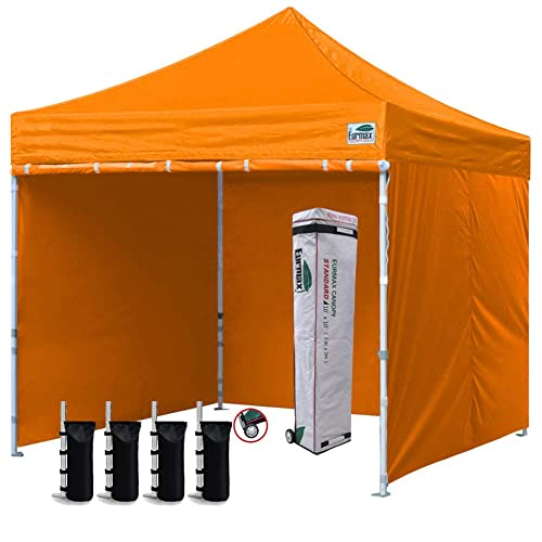 Bonus 4 SandBags Eurmax 10x10 Ez Pop-up Canopy Tent Commercial Instant Canopies with 4 Removable Zipper End Side Walls and Roller Bag Blue