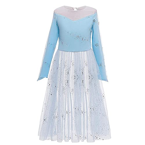 IMEKIS Kid Girls Princess Anna Dress Frozen Snow Queen Carnival Fancy Cosplay Dress Up Flower Tutu Birthday Party Gown with Fairy Accessories Outfit