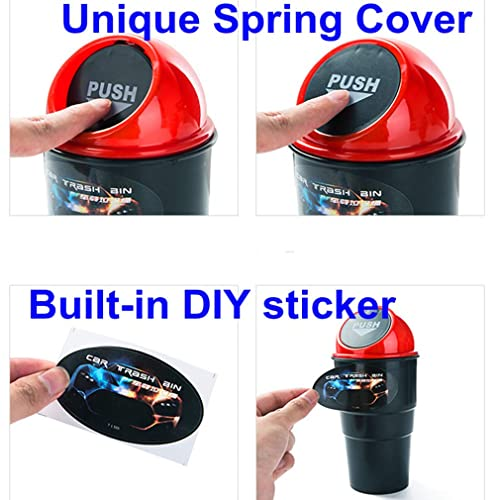 1pc Car Trash Can with Lid Dibiao Small Silicone Garbage Bin Car,Silicone+Plastic Cup Shape Trash Container