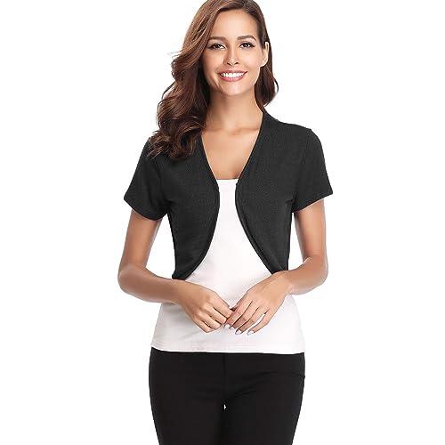 Hawiton Womens Long//Short Sleeve Shrug Knit Cropped Cardigan Bolero Jackets for Dress