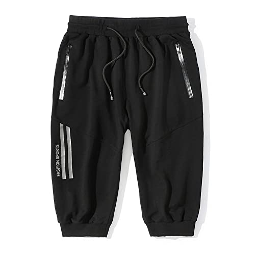Mr.Stream Mens Big and Tall Lounge Capri 3//4 Cropped Cotton Sport Basketball Shorts with Internal Drawcord