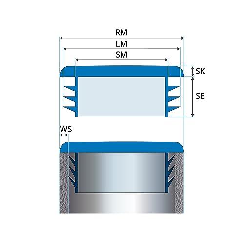 5 pcs 1,57 inch Round end Cap 40 mm White Plastic end caps Plugs