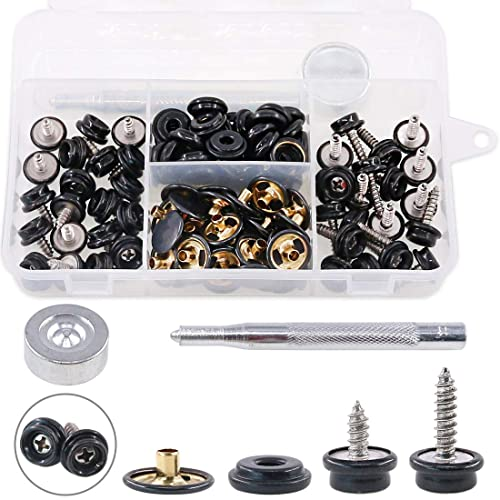 AuSL 15Sets Canvas Snap Fasteners Press Studs Sewing Clothing Snaps Button with Fixing Tool for Furniture Canvas Fabric Boats