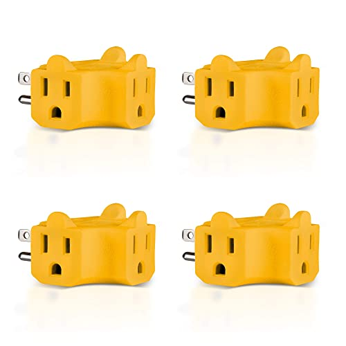 2 Pack Maxlin Cable 3-Outlet Wall Adapter T-shaped Yellow ETL Listed Plug Extender; Heavy Duty Grounded Power Tap