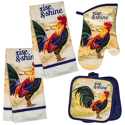 2 Dish Towels and 1 Oven Mitt Chef Themed Kitchen Towel Set with 2 Quilted Pot Holders