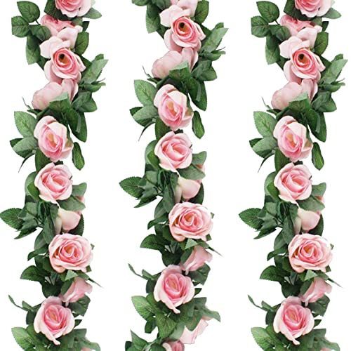 Buy Gpark 3pcs Each 7 55 Ft Artificial Greenery Fake Rose Hanging Vine Flowers Plants Leaf Garland Hanging For Wedding Party Garden Outdoor Wall Decoration Pink Online In Bahrain B078ysjjry