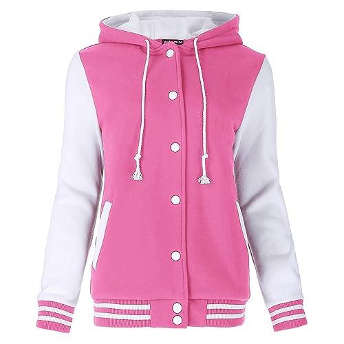 Kate Kasin Unisex Womens Varsity Baseball Hoodie Jacket Outerwear Bomber Coat