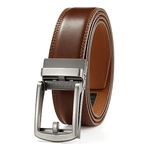 Mens Belt Ratchet Dress Belt with Automatic Buckle Brown//Black-Trim to Fit-35mm wide