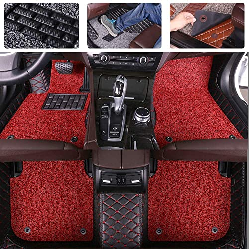 red Custom Car Floor Mats for KIA Stinger 2018-2019 Luxury Leather Waterproof Anti-Skid Full Coverage Liner Front & Rear Mat//Set