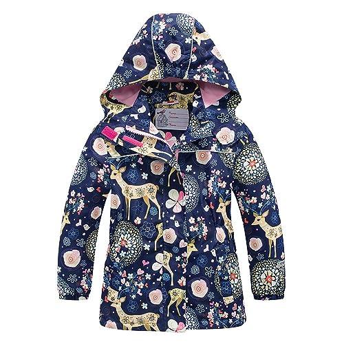 DILIBA Boys and Girls Rain Jacket Waterproof Raincoat for Kids Coat Windbreaker