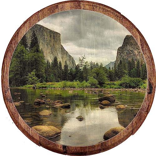 Buy Whiskey Barrel Head Mountain Base Stoney River Bed Wall Decor Oak Wood Wall Art For Men Online In Bahrain B07wj2tkgh