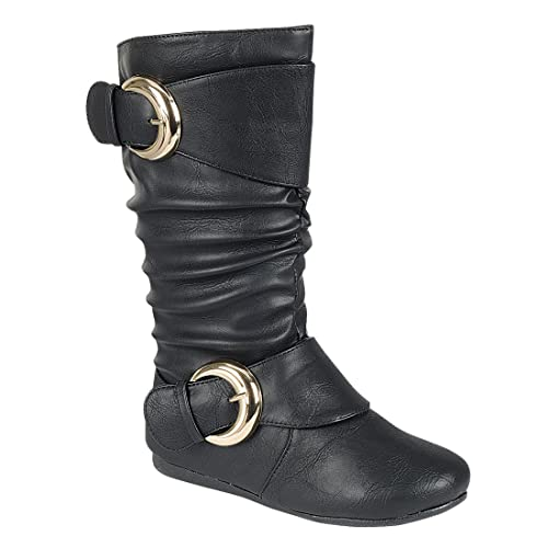 Toddler//Little Kid Generation19 Girls Faux Leather Zipper//Buckle Mid Calf Boots
