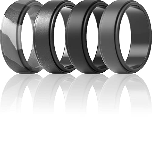 ThunderFit Silicone Wedding Rings for Men - Light Grey, Metallic Platinum, Brass, Black, Dark Grey, Grey Camo, Silver, 10.5-11 20.6mm