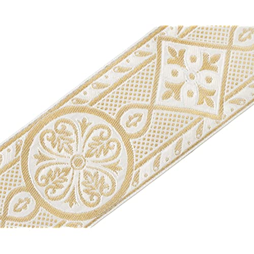 D/ÉCOPRO Vintage 1 Inch Light Gold 2.5cm Wide Olive Green White Gimp Braid Trim Style# 100HG Color: 010 Sold by The Yard