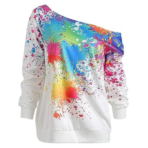 iQKA Womens Tie Dye Long Sleeve Tops Casual Loose Long Tunics with Pocket Oversized Crewneck Sweatshirt Pullover Mini Dress