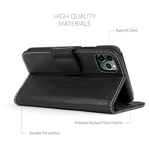 Snugg iPhone 12 Mini Wallet Case Leather Card Case Wallet with Handy Stand Feature Legacy Series Flip Phone Case Cover in Blackest Black