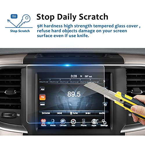 RUIYA HD Clear Tempered Glass Car in-Dash Screen Protective Film 2013-2018 Dodge Ram 1500 2500 3500 8.4In Uconnect Touch Screen Car Display Navigation 2PCS PET PLASTIC Screen Protector