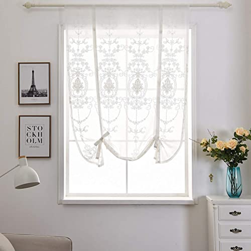 Tie Up Roman Shade Rod Pocket Sheer Balloon Curtain Adjustable Valances Short Drapes Blackout Lifable Voile Window Treatment for Bedroom Nursery Living Room Kitchen White,31 Wx47 L