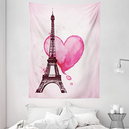 Ambesonne Eiffel Tower Tapestry Eiffel Romantic Valentine Love Watercolor Theme Heart Leaf Silhouette Print Wall Hanging For Bedroom Living Room Dorm Decor 60 X 80 Beige Buy Products Online With Ubuy