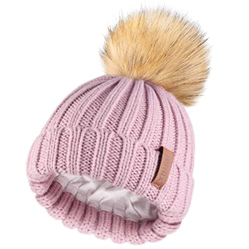 Kids Winter Knitted Pom Beanie Bobble Hat Cotton Lined Faux Fur Ball Pom Pom Cap Unisex Kids Beanie Hat/…