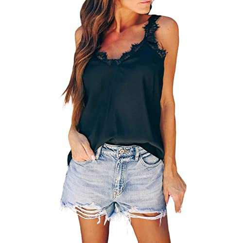 Dokotoo Tank Tops for Women Casual Halter Denim Camisole Sleeveless Top