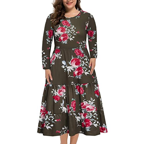 Bedoar Womens Floral Long Sleeve Pleated Ruffles Loose Plus Size Swing Casual Dress