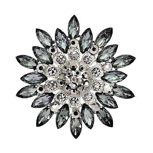Polytree Women Flower Crystal Rhinestone Brooch Pins Wedding Bridal Gift