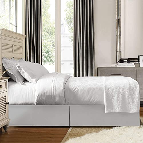 SPAY linen Luxury Bed Skirt Premium Cal-King Size 12 Inch Drop Dark Grey with 100/% Cotton Luxurious /& Easy to Wash Quality Tailored Drop Wrinkle /& Fade Resistant