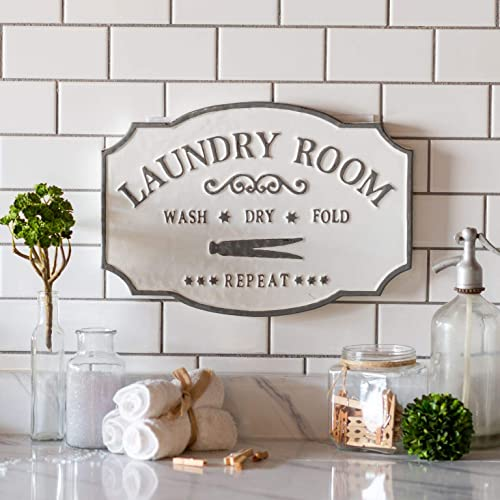 Buy Vipssci Antique Style Laundry Room Sign White Metal Sign With Gray Design Wall Mounted Decorative Plaque Online In Bahrain B07zn6l4mz