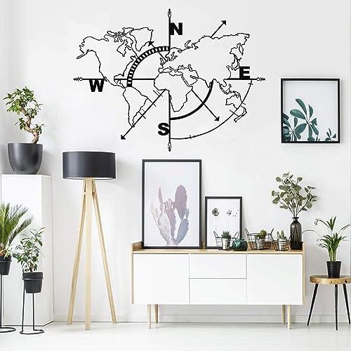 Buy Dekadron Metal World Map Wall Art Compass World Map Without Borders Metal Wall Decor Metal Sign Wall Hangings 39 W X 30 H 98x75 Cm Online In Bahrain B07x3myfgz