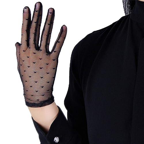 DooWay Super Long Tulle Sheer Gloves Touchscreen Lace Polka Dot Oversize for Women Evening Dress Party