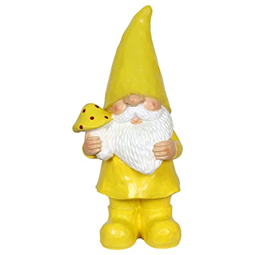Hand-Painted Gnome Resin Statue Holding a Bunch of Flowers w//Solar LED Decor Lights Gnome Hat Solar Gnome Whimsical Decor 11 Inches Exhart Solar Yellow Gilbert Gnome Garden Statue