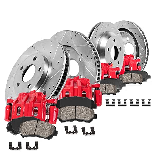 Callahan CCK11911 Red Powder Coated Semi-Loaded Caliper Assembly Set 2 REAR Performance E46