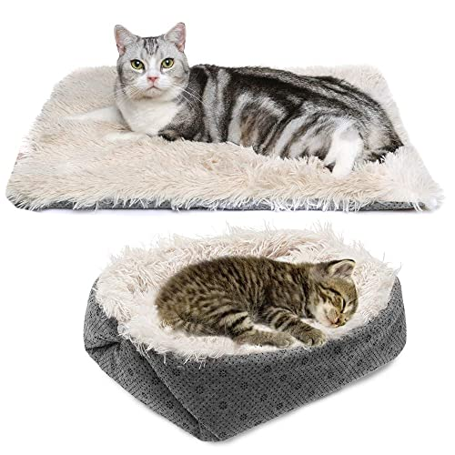 Self Heating Cat Cave Bed 2-in-1 Foldable Comfortable for Small Medium Dog Cat with Removable Cushion and Waterproof Bottom Self-Warming Pet Cat Bed Tent House Eaststar Cat Bed Washable Cat Mat