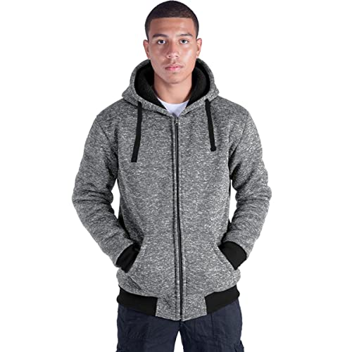 Plus Size S-5XL Marled Heavyweight Fleece Hoodie for Men Sherpa Lined Full Zip Up Long Sleeve Winter Jacket Coat/…