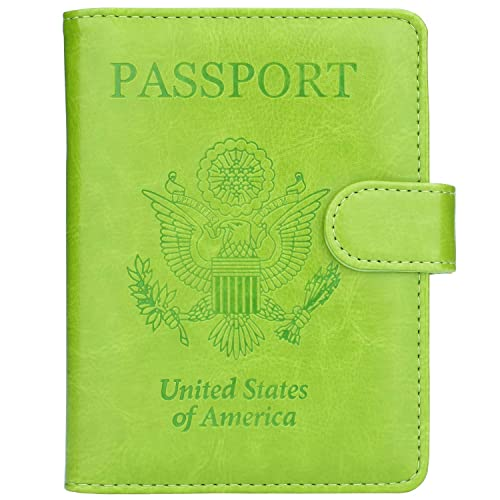 Dongingp PU Leather Passport Holder Cover Case with Green Plaid Travel One Pocket 5.51 inch