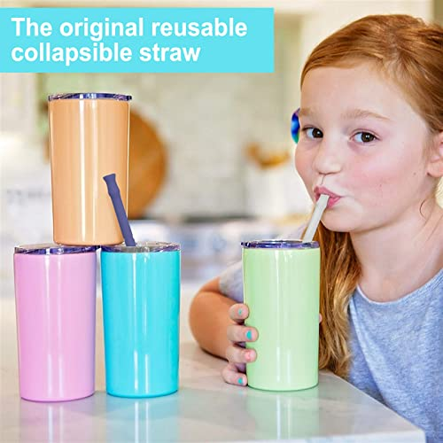 and Portable Straws for Travel Original Silicone Collapsible Straw- Folding Includes Cleaning Brush and Carrying Case by Aurdox Extra Long 10 Portable Straws 2 Pack for 30/&20 oz Tumbler Reusable