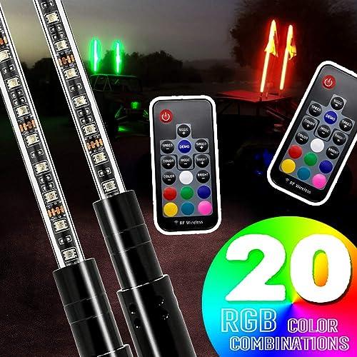 2PCS SIZZLEAUTO 5ft ATV UTV LED Whip Lights RGB Lighted Antenna Whips RF Remote Control w//US Flag for Off Road Jeep Sand Rails Buggies 4X4 Quad Can-am Maverick Yamaha Polaris RZR