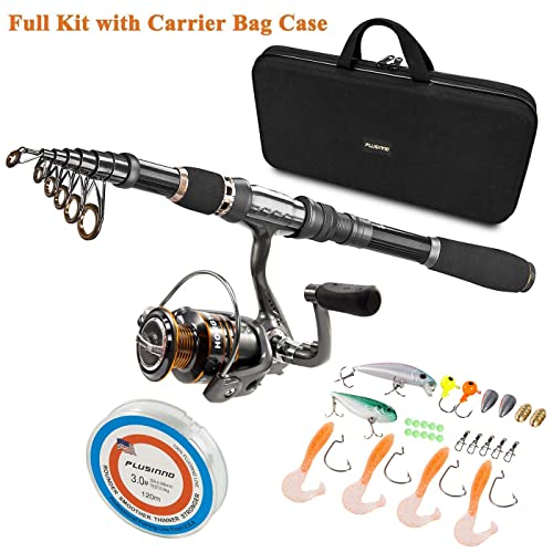 Details about  /Fishing Rod And Reel Combo Full Kit Set Carrier Bag Pole Spinning Lures Hooks