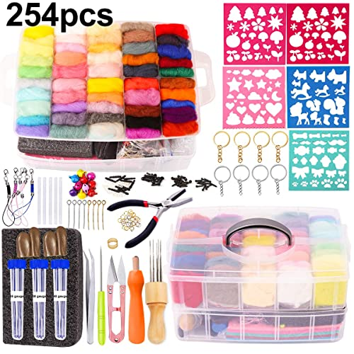 High Density Foam Pad Storage Box for DIY Craft Animal Home Decoration Holiday Gift Felt Molds Complete Needle Felting Tools and Supplies with Felt Wool 50 Colors Needle Felting Kit
