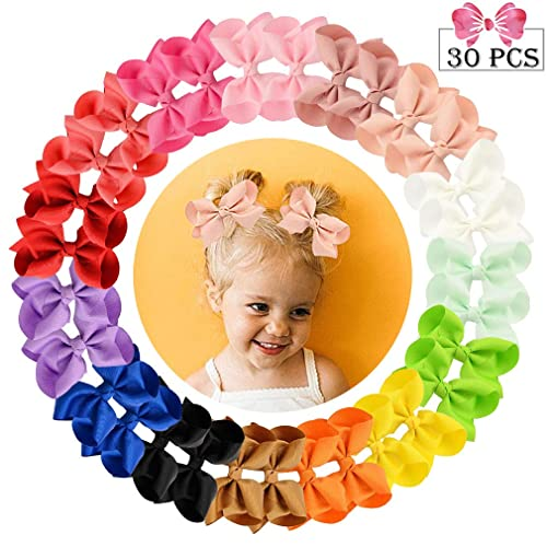 Aileam 12 Pcs Hair Bows Clips 3 Boutique Alligato Christmas Bow Grosgrain Ribbon Accessories For Girls Baby Toddlers Kids