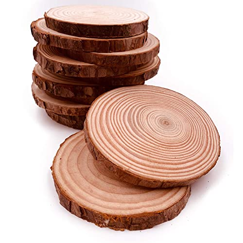 10pcs 3.9-4.7 Unfinished Predrilled Wood Slices Round Circles with Tree Bark Wood Slices for Centerpieces and DIY Craft Rustic Ornaments /…
