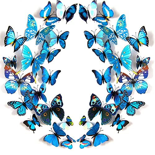 Buy Jyphm 24pcs Butterfly Wall Decal Removable Refrigerator Magnets Mural Stickers 3d Wall Stickers For Kids Home Room Nursery Decoration Wall Art Blue Online In Bahrain B07kjtql9x