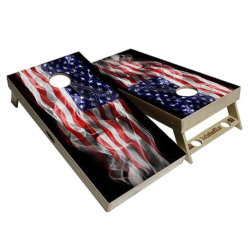 2X America Flag Cornhole Board Game Decal Stickers Vinyl Printed Bean Toss US