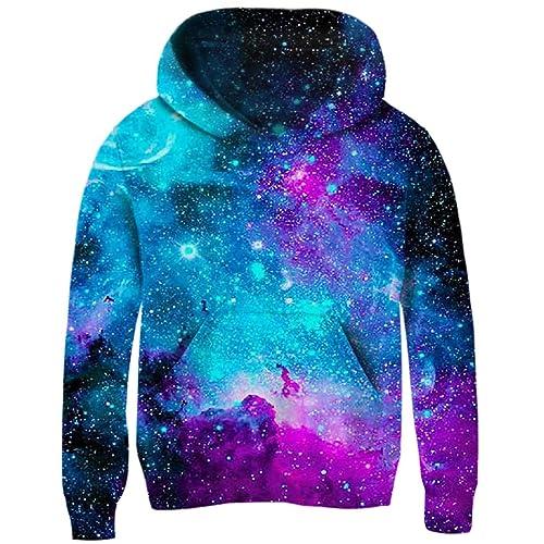 Funnycokid Boys Girls Fleece Hoodies 3D Printed Teens Pullover Sweatshirts with Pocket 5-16 Years