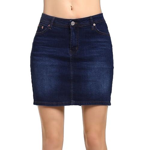 Beluring Womens Denim Jean Mini Skirt