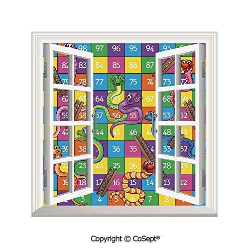 Scoxixi Open Window Wall Mural Cute Snakes Smiling Faces Numbers In Squares Ladders Childrens Kids Play Print For Living Room25 86x22 63 Inch Buy Products Online With Ubuy Bahrain In Affordable Prices B07sm6wt1p