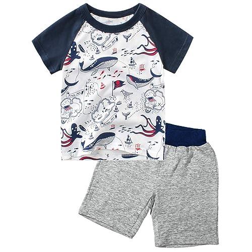 SUNFEID Toddler Boys Shorts Set Cotton Short Sleeve Summer Clothes