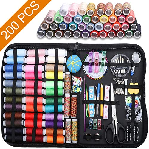 Sew/Repair/Kit with Scissors Emergency Thimble Button Tape Measure Thread Sewing Needles Jhua Sewing/Kit 172 Pcs DIY Mini/Sewing/Kit Portable Sewing/Kits/for/Adults Beginner Traveler