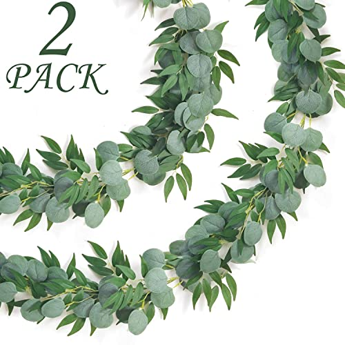 Buy Camlinbo 2 Pack Eucalyptus Willow Garland Artificial Greenery Garland Total 13ft Leaf Garland Wedding Vines Ivy Garland Hanging For Wedding Arch Backdrop Wall Party Outdoor Indoor Decor Online In Bahrain B082vzm4s6